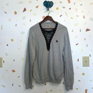 LF Furst of a Kind Heathered Gray Lace Up Sweater